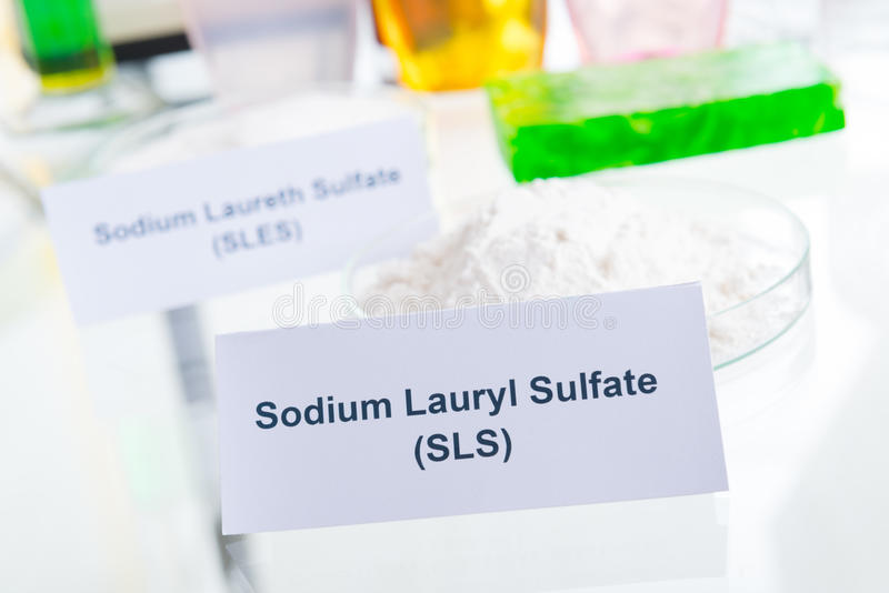 Noxious Additives In Cosmetics. Laboratory with chemical substances stock photo