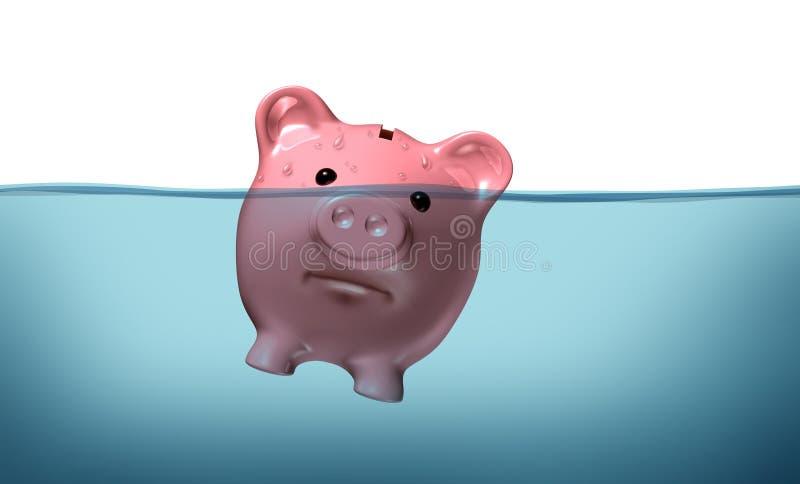 Noyade dans la dette illustration libre de droits