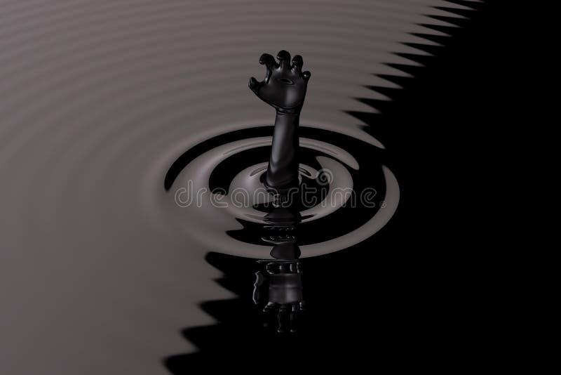 Noyade dans la main noire de pétrole brut pour l'aide illustration libre de droits