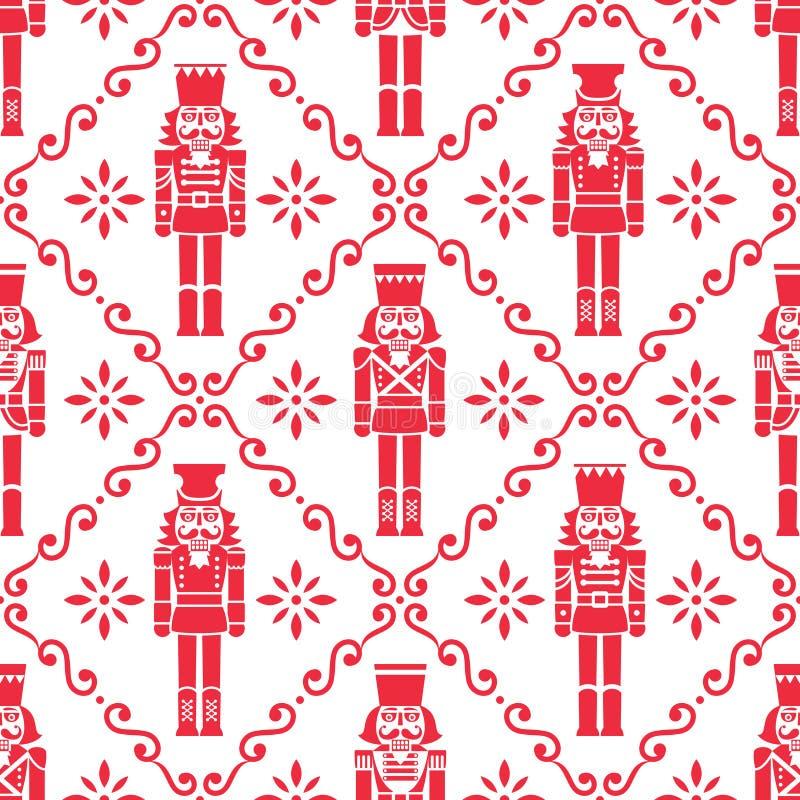 Nozes de Natal padrão sem descontinuidades vetoriais - Moldado figurino vermelho e branco repetitivo, desenho têxtil ilustração royalty free