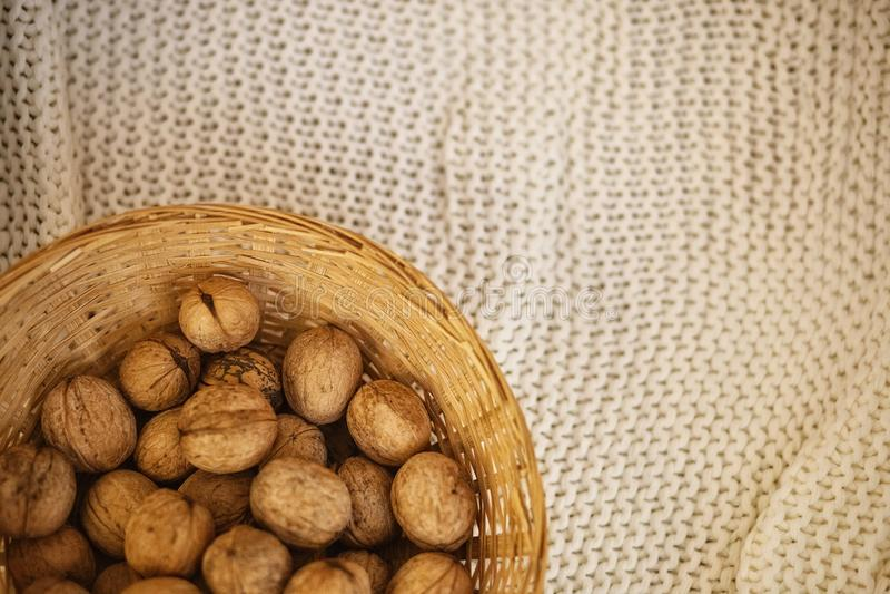 Nozes na cesta com folhas e o copo secos do chá no fundo quadriculado marrom imagem de stock