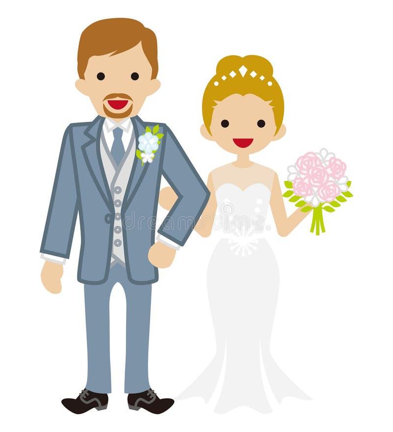 Nozze - coppia eterosessuale - sposa dei capelli di Updo illustrazione di stock