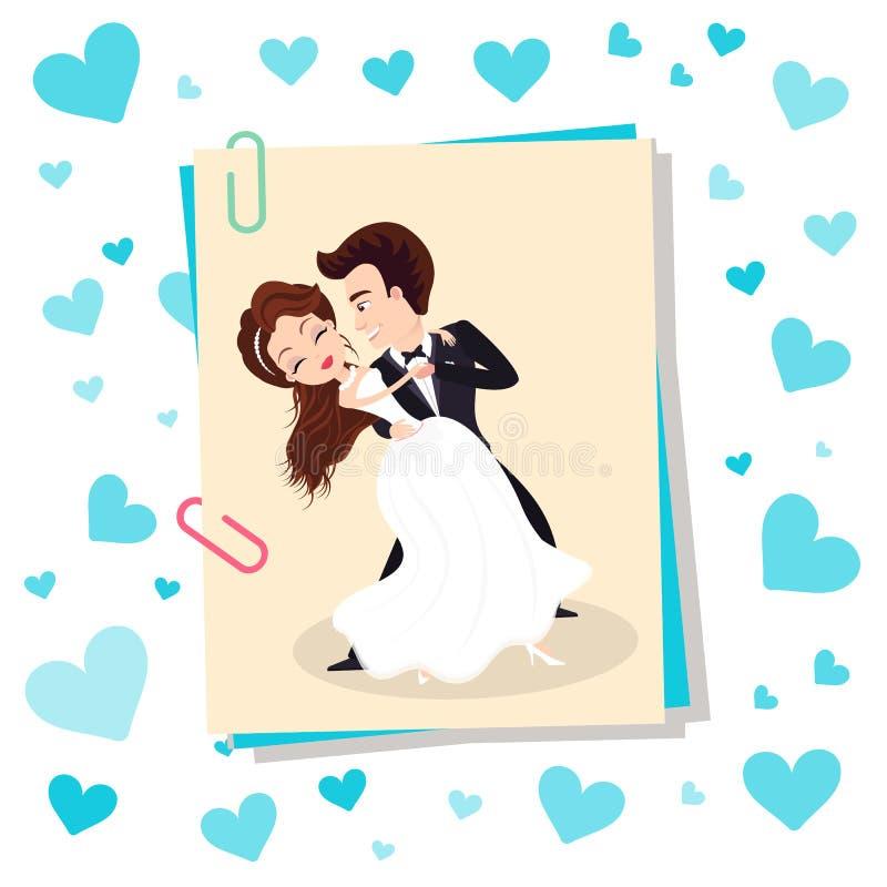 Nozze delle coppie, della sposa ballante e dello sposo Vector illustrazione di stock