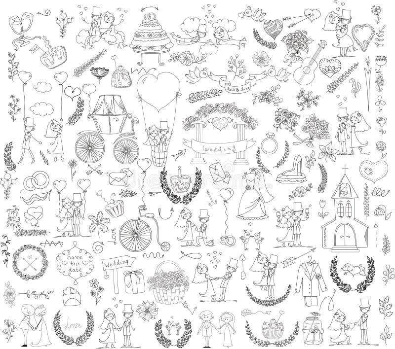 Nozze di scarabocchio fissate per le carte dell'invito royalty illustrazione gratis