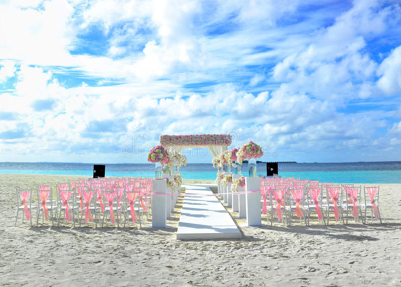 Nozze di spiaggia della destinazione delle Maldive fotografia stock