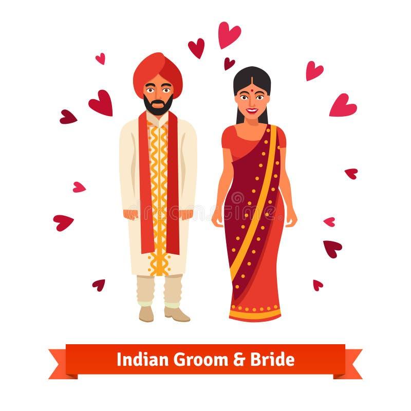 Nozze indiane, sposa, sposo in costumi nazionali illustrazione vettoriale