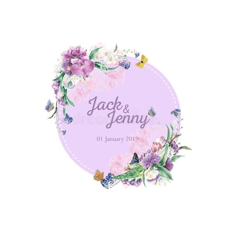 Nozze Logo Orchid Flower Theme fotografie stock