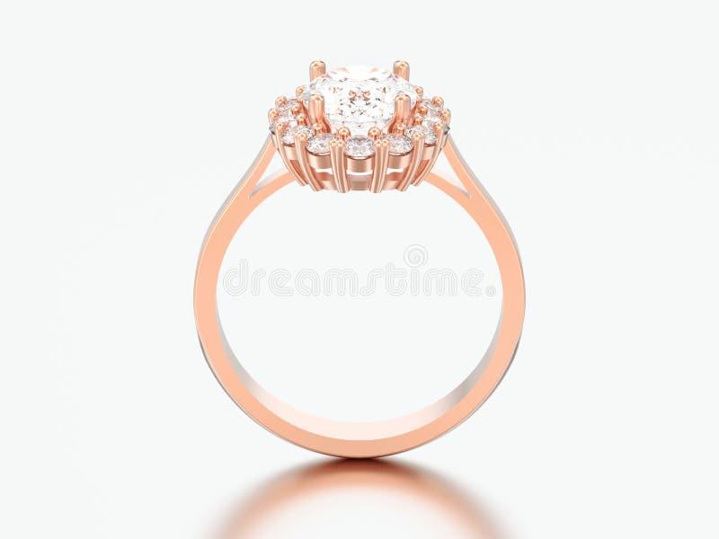 nozze ovali r di impegno del diamante di alone dell'oro rosa dell'illustrazione 3D royalty illustrazione gratis