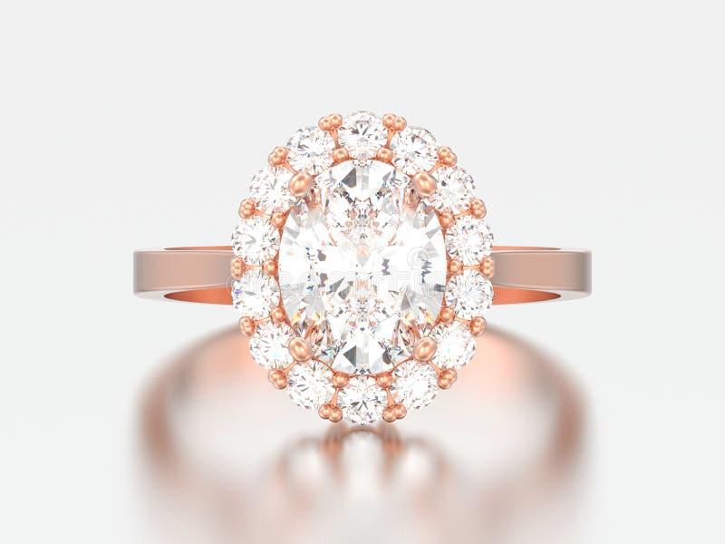 nozze ovali r di impegno del diamante di alone dell'oro rosa dell'illustrazione 3D illustrazione vettoriale