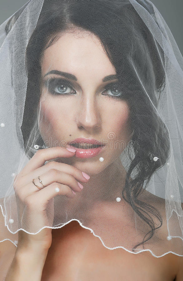 Nozze. Ritratto della sposa affettuosa castana in velo fotografia stock