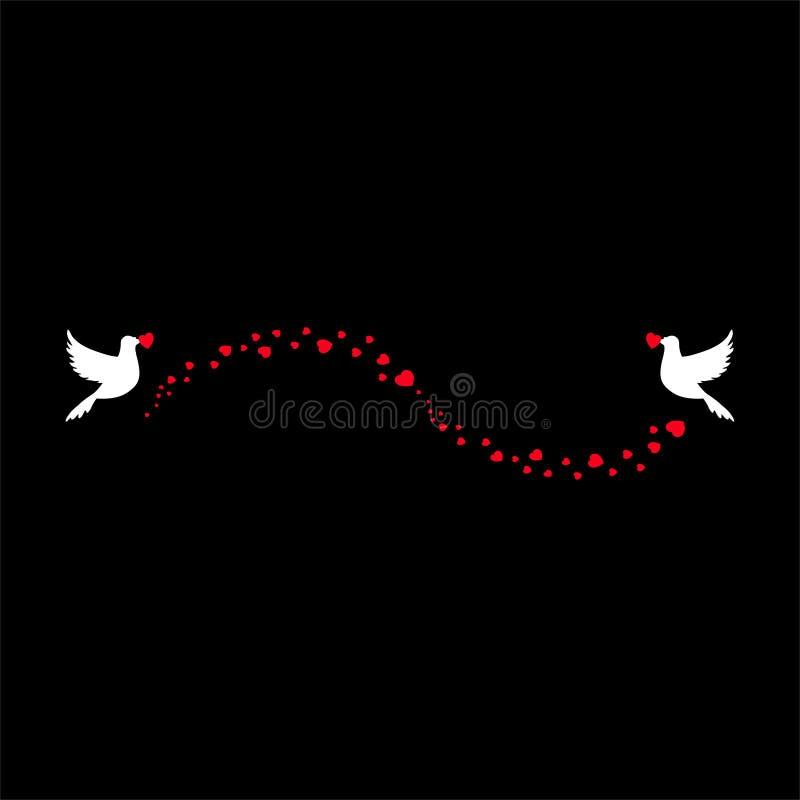 Nozze romantiche di amore, elemento del biglietto di S. Valentino di flusso dei coriandoli del cuore ed uccelli di volo illustrazione vettoriale