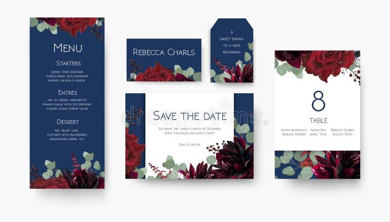 Nozze salvo la data, menu, etichetta, numero della tavola, flo della carta del posto illustrazione vettoriale