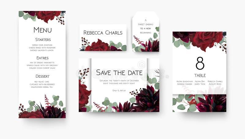 Nozze salvo la data, menu, etichetta, numero della tavola, Florida delle carte del posto royalty illustrazione gratis