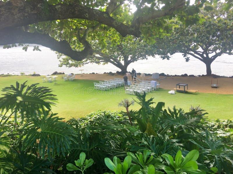Nozze sulla spiaggia alla st Regis Resort Princeville Kauai Hawaii fotografie stock