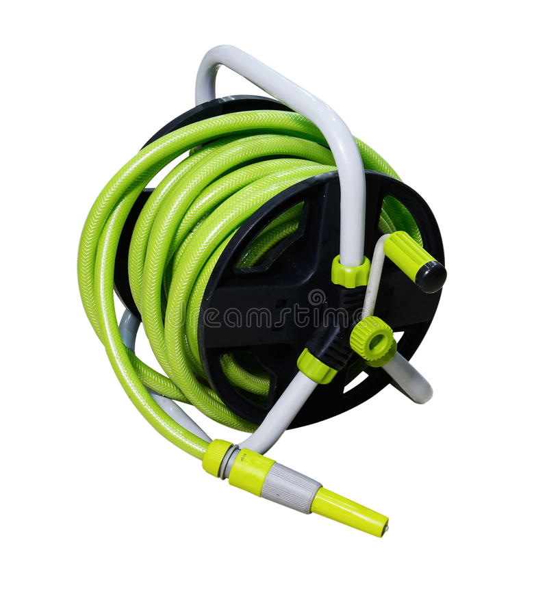 Nozzle of a garden water hose isolated on white background with stock photography