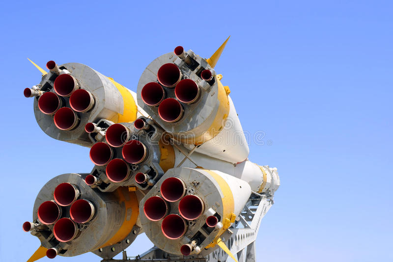Nozzles of Soyuz Spacecraft. View of nozzles of Soyuz spacecraft parked for good in the city of Baikonur in Kazakhstan stock photos