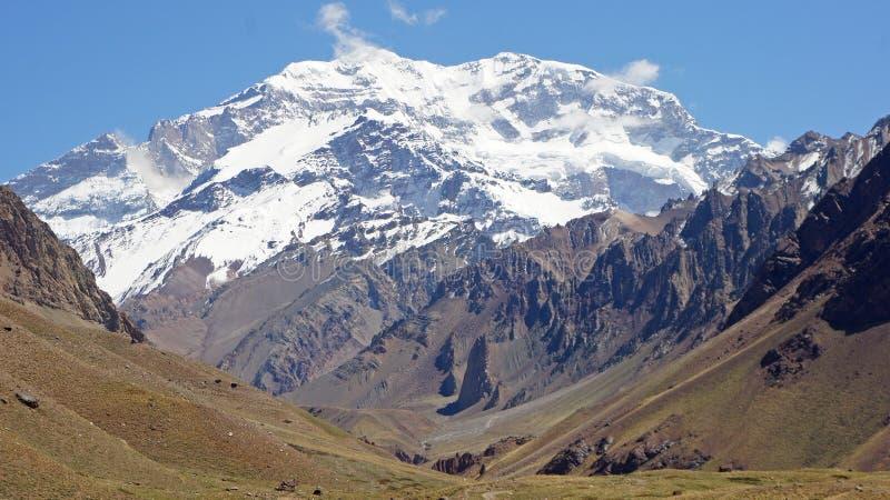 NP Aconcagua, Andes berg, Argentina royaltyfria foton