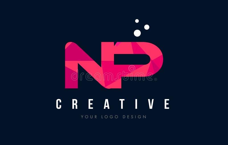 NP N P listu logo z Purpurowym Niskim Poli- Różowym trójboka pojęciem royalty ilustracja
