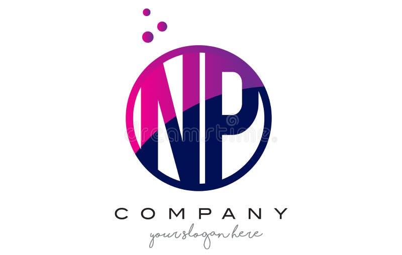 NP N P okręgu listu loga projekt z purpur kropek bąblami ilustracji