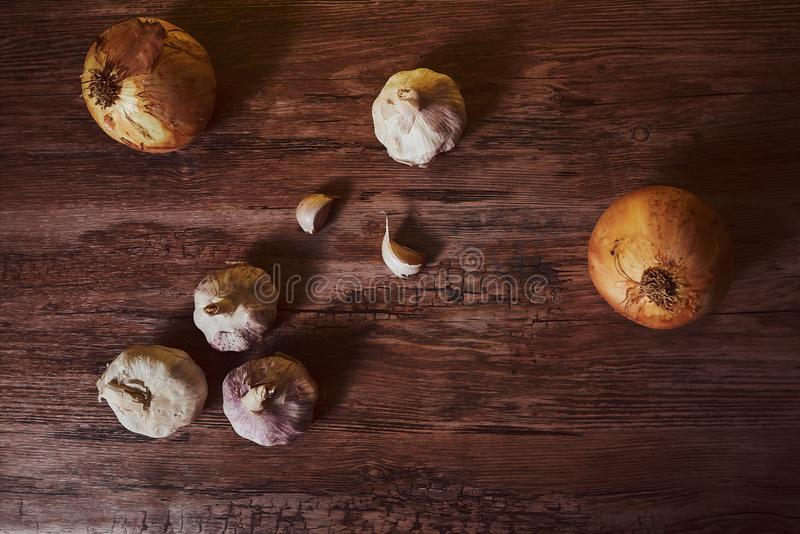 Photograph with garlic and organic onions. stock photo