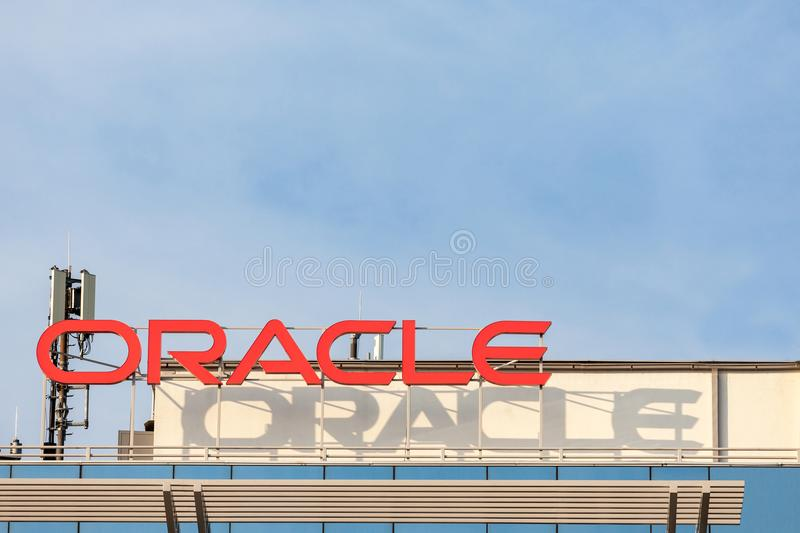 Oracle logo on their main offices for Belgrade, Serbia. Oracle is an American multinational computer corporation stock images