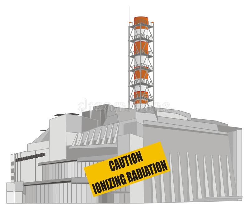 NPP and caution banner. NPP of Chernobyl and yellow banner with words vector illustration