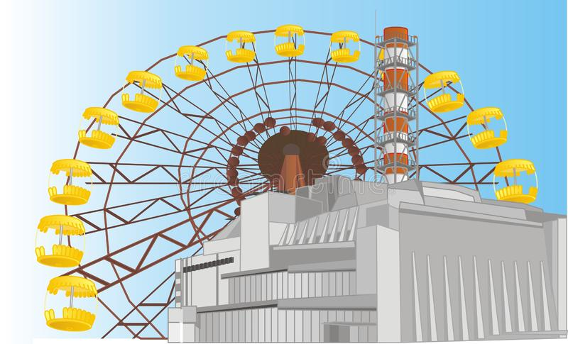 NPP and sunny day. NPP with ferris wheel and sunny day n Chernobyl vector illustration