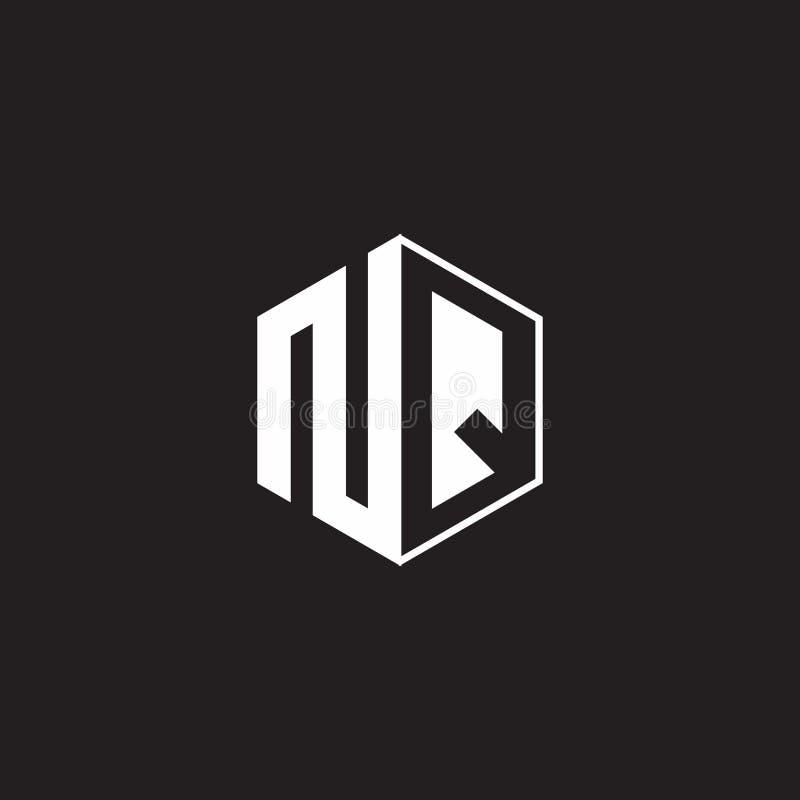 NQ Logo monogram hexagon met zwarte achtergrond negatieve ruimtestijl vector illustratie