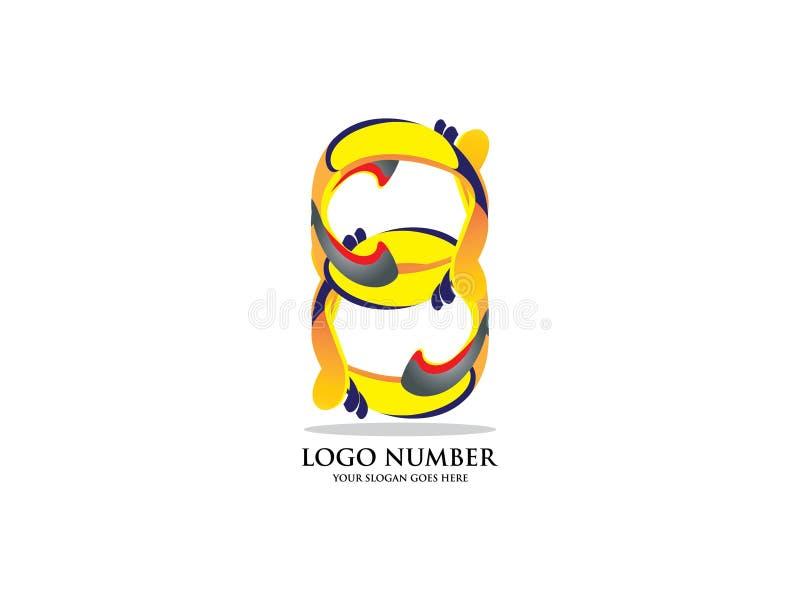 Nr. acht mit Aquarell Farbüberlagerungsart Vector Schriftbild für Aufkleber, Schlagzeilen, Poster, Karten usw. vektor abbildung