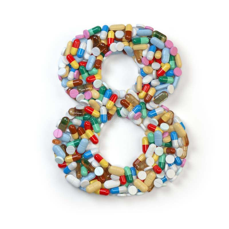 Nr. 8 acht Satz des Alphabetes der Medizinpillen, Kapseln, lizenzfreie abbildung