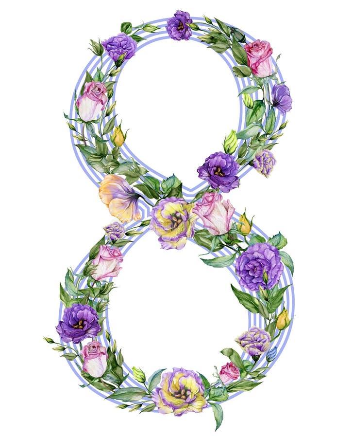 Nr. acht verziert mit schönen Rosen- und Eustomablumen Illustration für der den 8. März den Tag, internationalen Frauen vektor abbildung