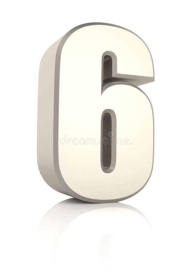 Nr. 6 auf weißem Hintergrund lizenzfreie abbildung