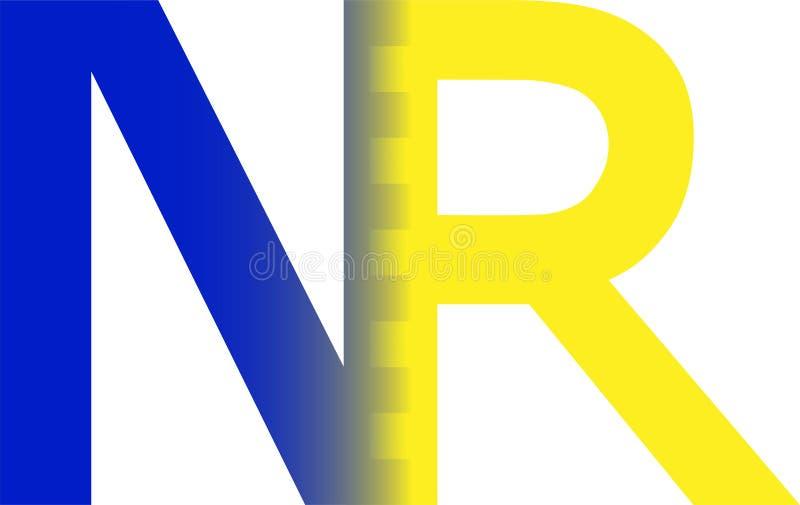 NR blauw en geel embleem N R royalty-vrije illustratie