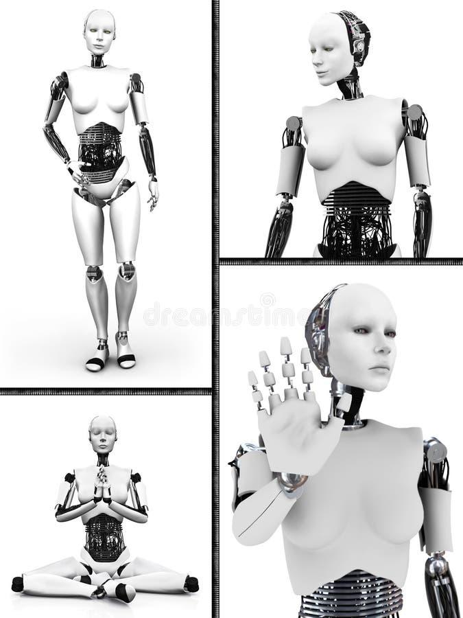 Nr 2 del collage de la mujer del robot ilustración del vector