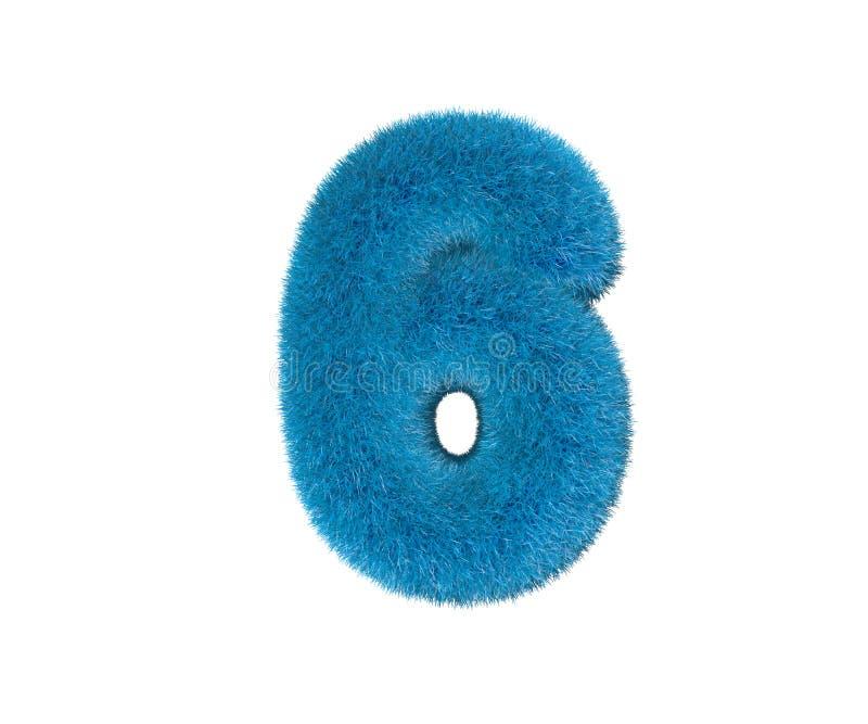 Nr. 6 des blauen lächerlichen Wollalphabetes lokalisiert auf weißem Hintergrund, Illustration des Kinderkonzeptes 3D von Symbolen vektor abbildung