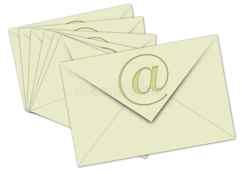 Nr. Email 7 su priorità bassa bianca immagini stock