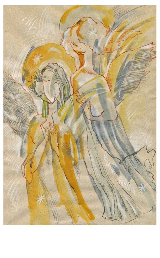 nr. för 2 änglar stock illustrationer