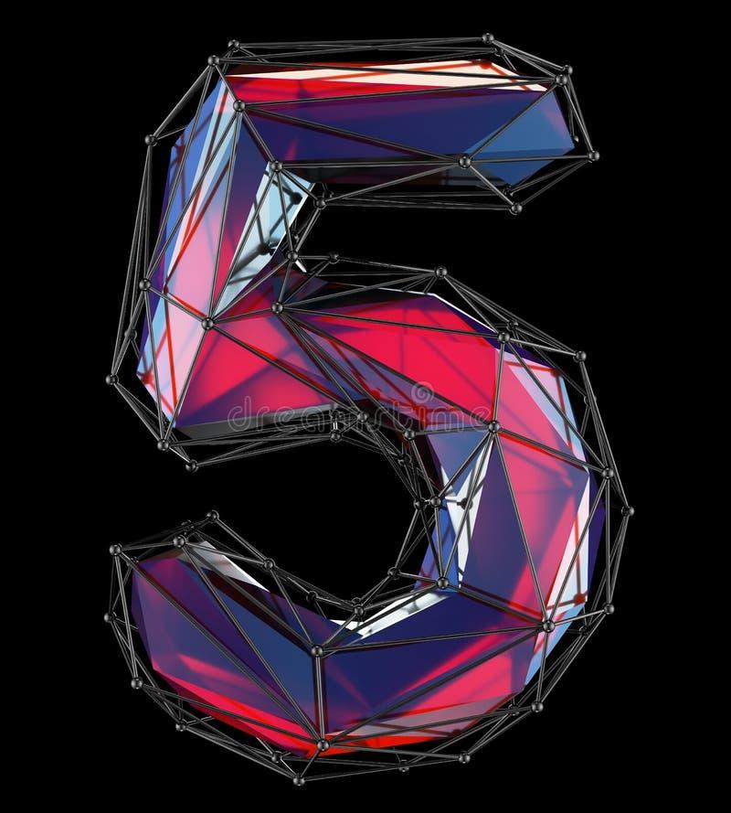 Nr. 5 fünf in der roten Farbe der niedrigen Polyart lokalisiert auf schwarzem Hintergrund 3d vektor abbildung