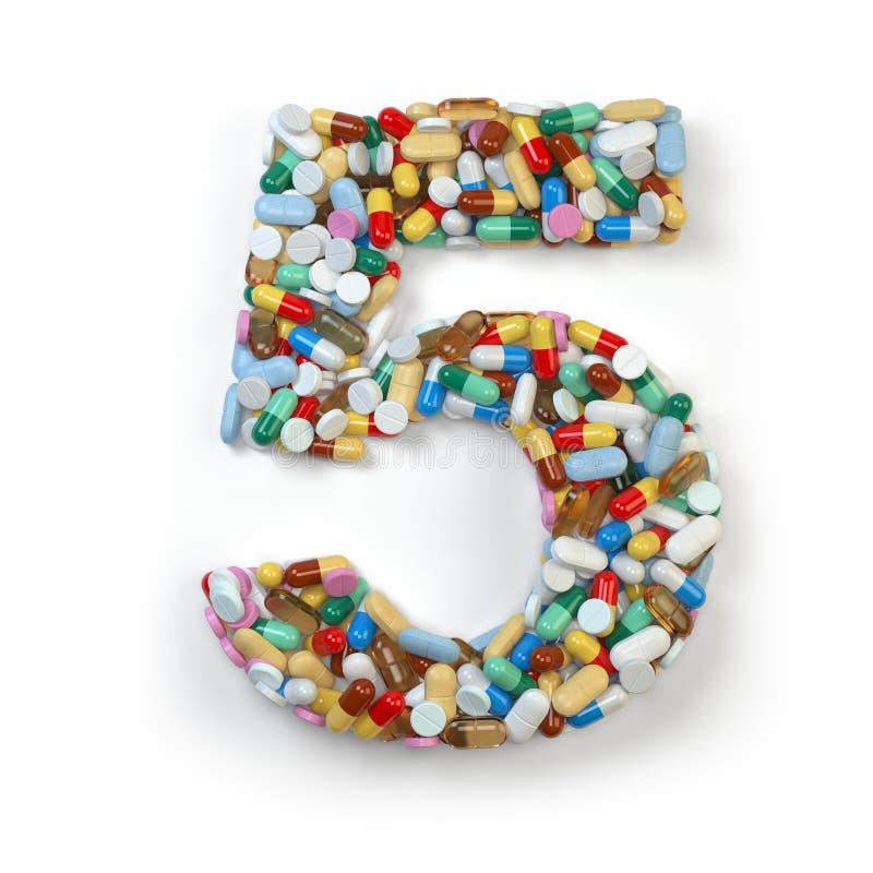 Nr. 5 fiive Satz des Alphabetes der Medizinpillen, Kapseln vektor abbildung