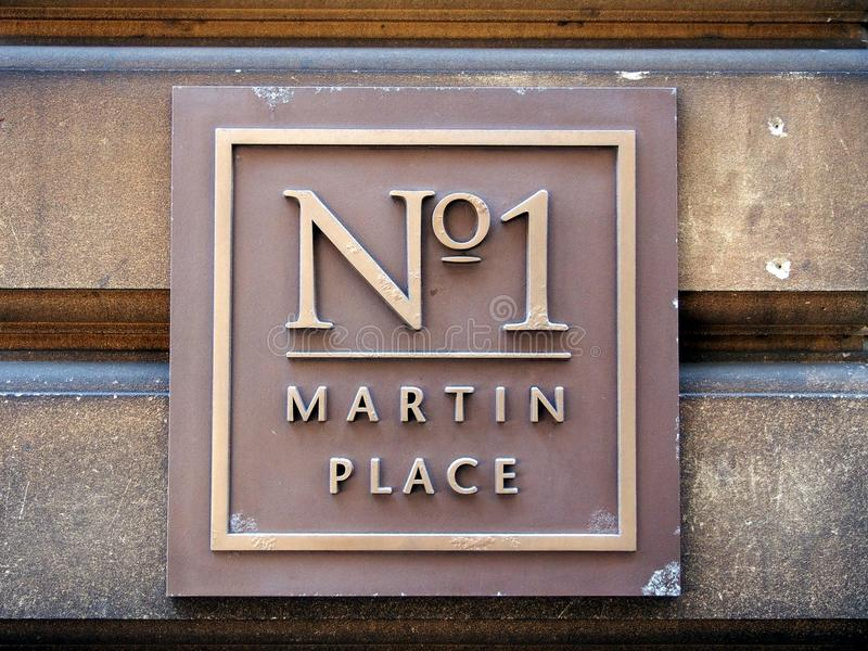 Nr 1 Martin Place Street Sign royalty-vrije stock foto's