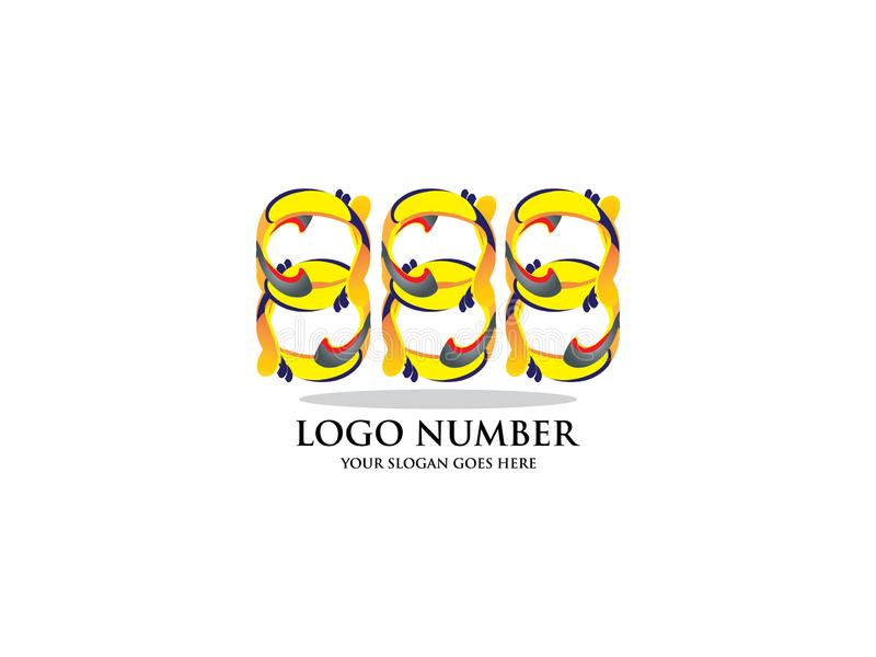 Nr. 888 mit Aquarell Farbüberlagerungsart Vector Schriftbild für Aufkleber, Schlagzeilen, Poster, Karten usw. vektor abbildung