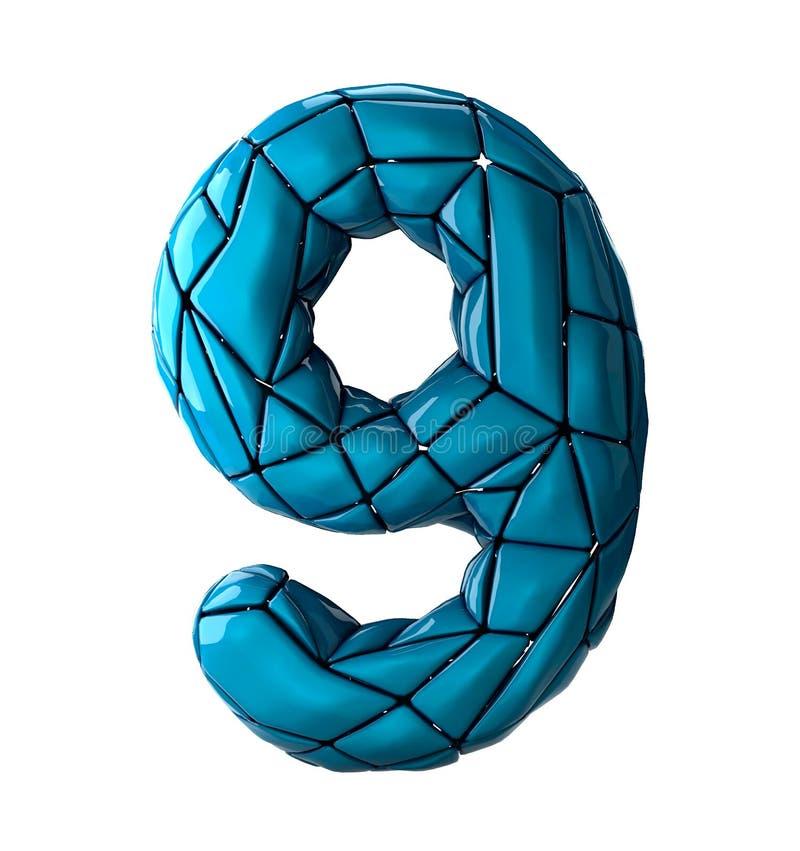 Nr. 9 neun in der blauen Farbe der niedrigen Polyart lokalisiert auf weißem Hintergrund 3d stock abbildung