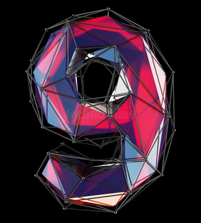 Nr. 9 neun in der roten Farbe der niedrigen Polyart lokalisiert auf schwarzem Hintergrund 3d lizenzfreie abbildung