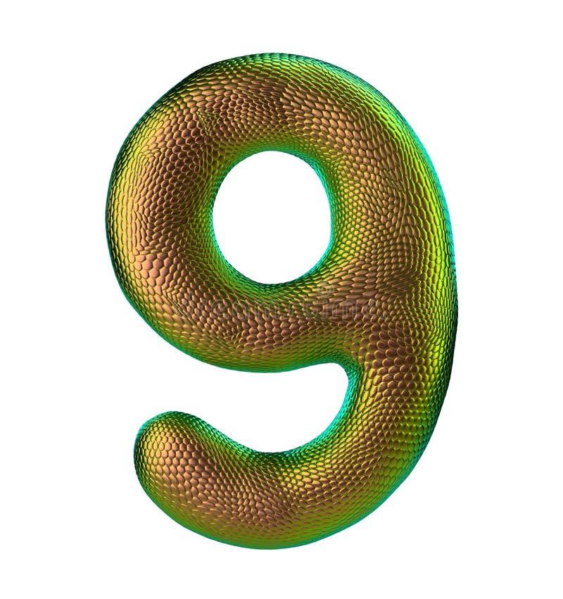Nr. 9 neun gemacht von der natürlichen Goldschlangenhautbeschaffenheit lokalisiert auf Weiß stock abbildung