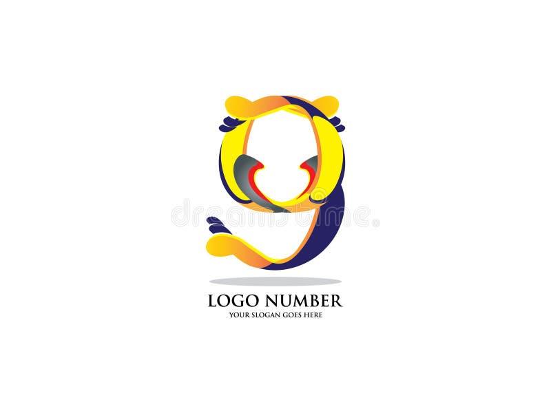 Nr. neun mit Aquarell Farbüberlagerungsart Vector Schriftbild für Aufkleber, Schlagzeilen, Poster, Karten usw. vektor abbildung