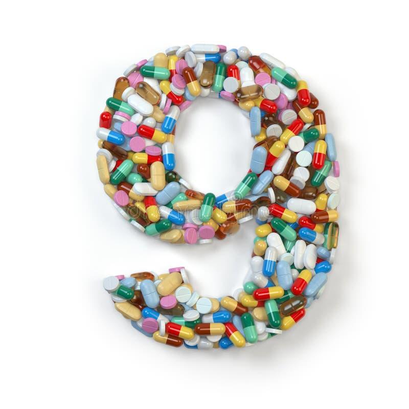 Nr. 9 neun Satz des Alphabetes der Medizinpillen, Kapseln, stock abbildung