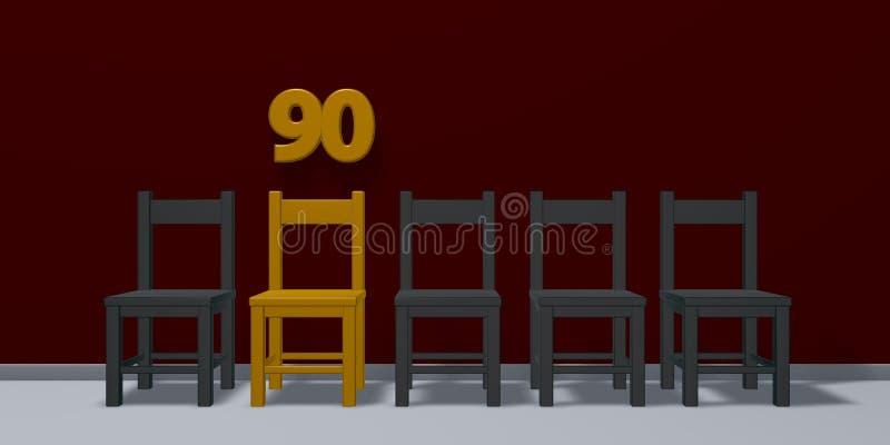 Nr. neunzig und Reihe von Stühlen stock abbildung