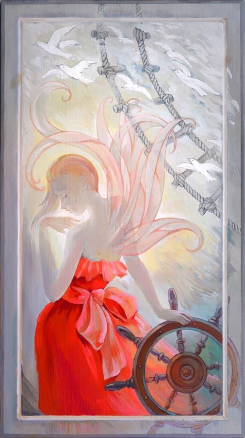 Nr, niet vanavond Portret van een mooie fee op de raad van schip Olieverfschilderij op hout royalty-vrije illustratie