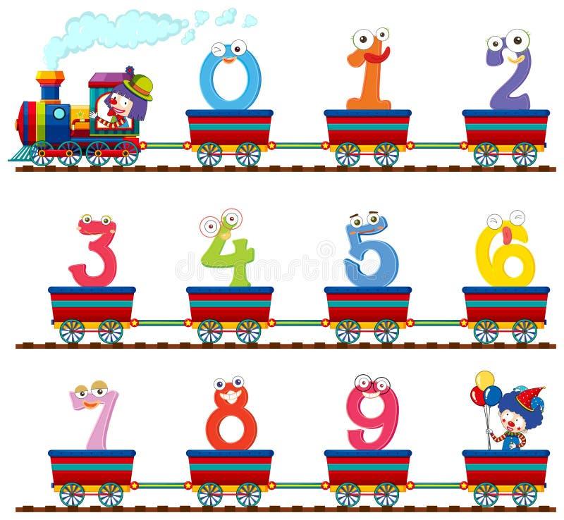 Nr. null bis neun im Zug lizenzfreie abbildung