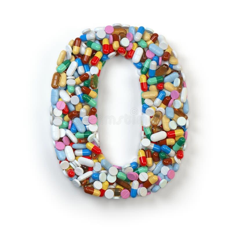 Nr. 0 null Satz des Alphabetes der Medizinpillen, Kapseln stock abbildung
